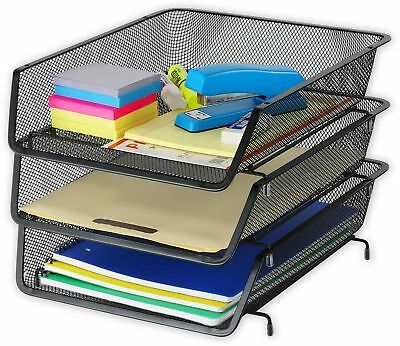 3 Pack - SimpleHouseware Stackable Desk Document Letter Tray File Organizer,