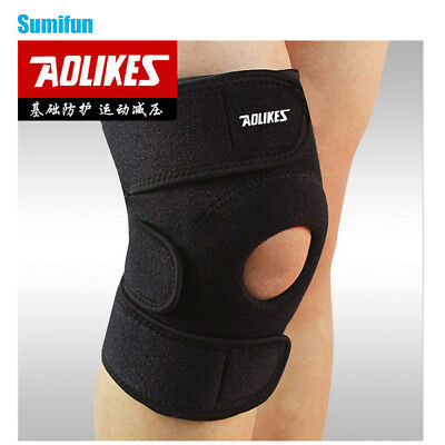1pc Adjustable Sports Training Elastic Knee Support Brace Kneepad Black Z14701