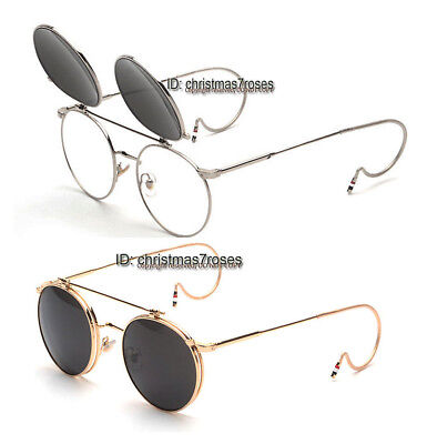 095e3f55350 Men vintage round Eyeglass frame cable temple steampunk Clip on Sunglasses  New