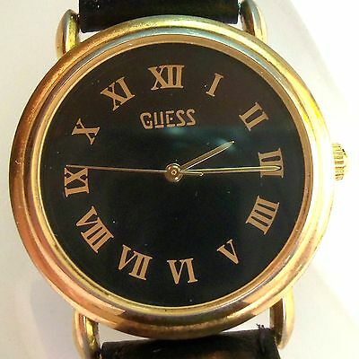 Vintage Ladies Guess Quartz Black Gold Watch Leather Band Round Face Nice