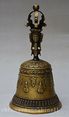 Chinese Old Brass Bell Collection Handmade Carved  Buddhism Statue Decoration