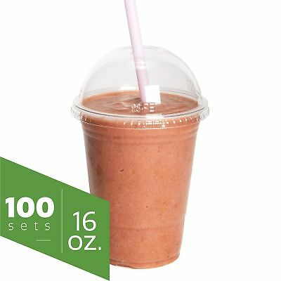 Comfy Package 100 Set 16 oz. Plastic Clear Cups with Dome Lids (16 oz. Dome