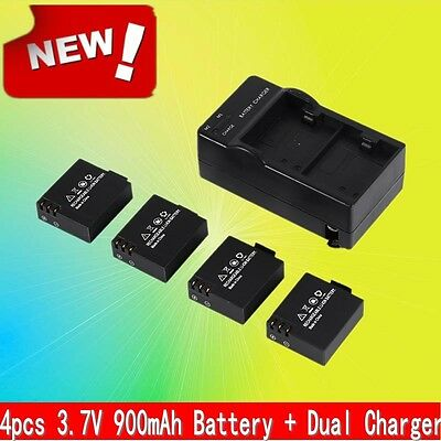 4Pcs 3.7V 900mAh Li-ion Battery + Dual Charger For Xbox One Suit For SJ4000