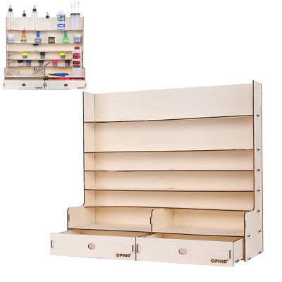 OPHIR Wooden Paint Rack with 2x Cabinet 5 Floor Stand Pigment Holder Ink Storage