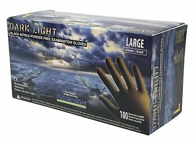 Adenna Dark Light 9 mil Nitrile Powder Free Exam Gloves (Black), Large - Box of