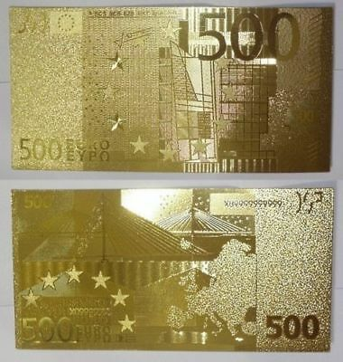 500 Euros  GOLD Plated Banknote  - 500 Euros PLated in 24K Gold - Great Gift