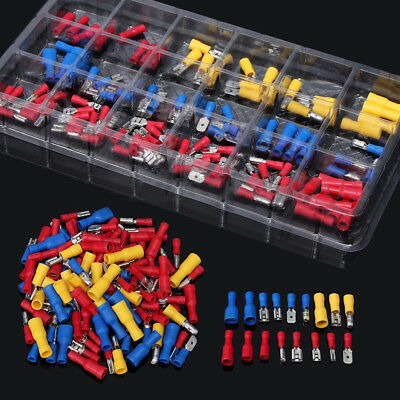 120pc Insulated Assorted Electrical Wire Terminal Crimp Connector Ring Spade Set