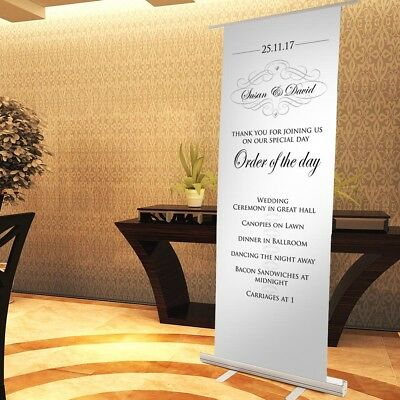 Elegant WEDDING SIGN - Pop Up Roller Sign. WEDDING RECEPTION DECORATION