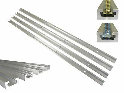 """Lot 4 Each 24"""" Aluminum T Track 3/4"""" by 3/8"""" Slot, Accepts 1/4"""" Hex Bolts, 1/4"""""""