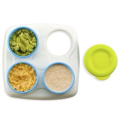 Nuby Garden Fresh Baby Food Storage Freezer Snack Container Tubs with Lid & Tray
