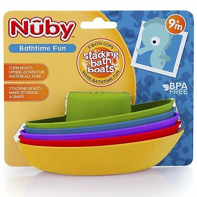 Nuby Stackable Bath Boats, Baby Toddler Bathtime Colourful Activity Toy - 5 Pack