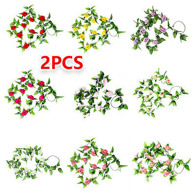 2 x8Ft Artificial Fake Silk Rose Flower Ivy Vine Garland Wedding Party 9 Colours