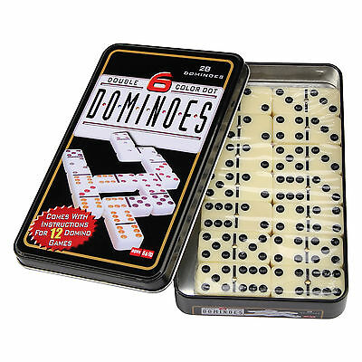 Double Six 6 Dominoes Set of 28 in Tin Box Traditional Board Travel Game Toy