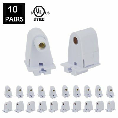JESLED 10 Pairs T8/T10/T12 Single Pin FA8 Tombstone Base Holder Socket for 8ft