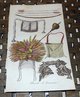 ANTIQUE Italy COPPER ENGRAVE Print 1828 CAMACANI INDIAN Artifacts SO AMERICA 54A
