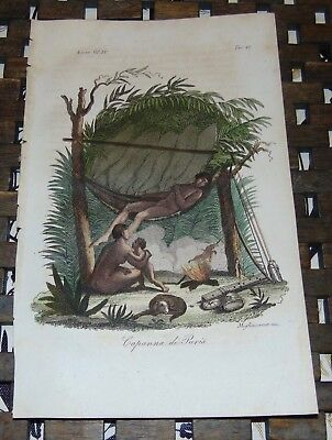 ANTIQUE Italy COPPER ENGRAVING Print 1828 PURI INDIAN HUT Brazil 47A