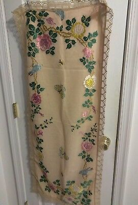 Antique Society Silk Royal Silk Society Arts Crafts Embroidered Doily Scarf Omg!