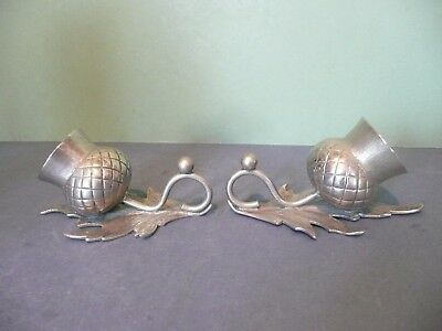 Pair Of Victorian Silver Plated Scottish Thistle Salts