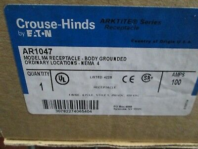 Ar1047 Cooper Crouse-Hinds 100A 600V 4P4W Receptacle