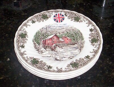 Queen's  Country Village Grist Mill Salad Dessert Side  Plates NIB S/4