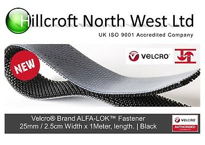 Velcro® Brand ALFA-LOK® Heavy Duty Fastener Self Tape Black 25mm Wide Adhesive