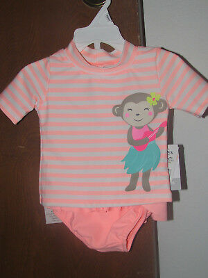 Girls Carter's NWT 2 pc pink/white striped monkey bathing suit size 12 months