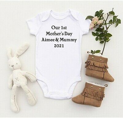 Our First Mothers Day 2018 Personalised Baby Vest All In One Romper Bodysuit