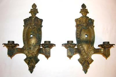 Pair Antique 1800's Ornate Brass Wall Sconce Candle Holders