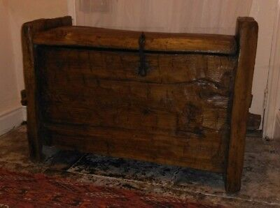 Rare Medieval Cypress Wood Ark Chest Coffer