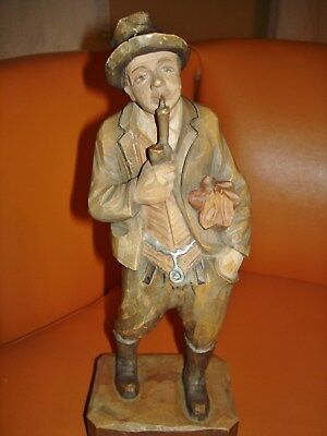 Hand Carved Wood Figure Of Man With Pipe And Umbrella Made In Italy 11.5""