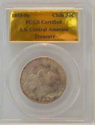 1853-So Chile 50C - PCGS Certified S.S. Central America Treasure
