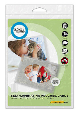 """1 Pack of 3 Self-Laminating Pouches CARDS Medium #1852 For Photos 4""""x6"""" Laminate"""