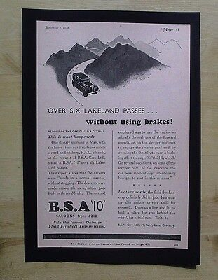 B.s.a. Cars, Coventry  Original Vintage Advert From  Motor Magazine 1934