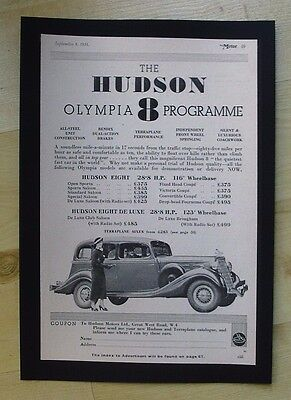 Hudson Motors Ltd  Olympia 8  Original Vintage Advert From  Motor Magazine 1934