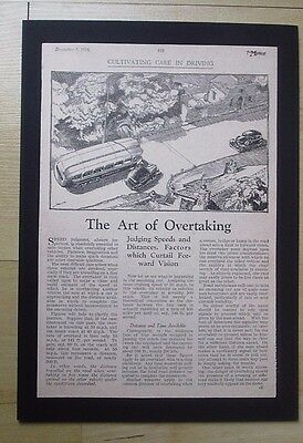 The Art Of Overtaking  Original Vintage Report From The Motor 1933