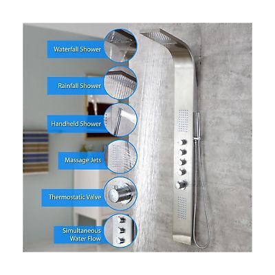 Decor Star 004 Ss 63 Stainless Steel Rainfall Waterfall Shower Panel Tower