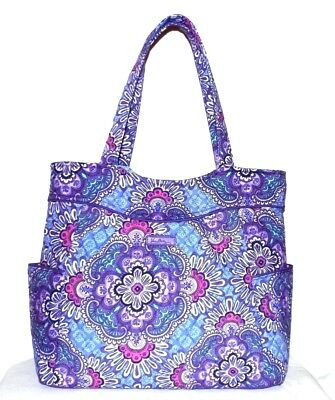 New Vera Bradley Pleated Tote Lilac Tapestry