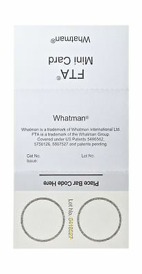 Whatman WB120055 FTA Mini Card 2-Sample Areas, 2 x 125 microliter Size (Pack ...