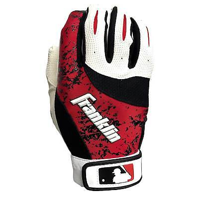 Franklin 2nd Skinz Baseball Youth Batting Gloves White Red Black- size L Pair