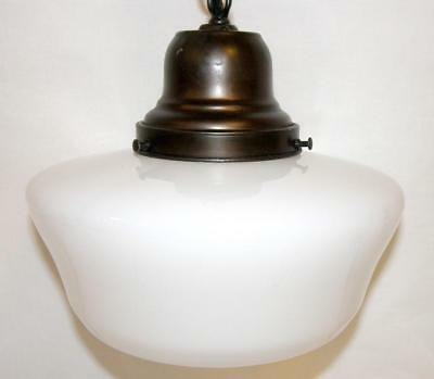 Antique Hanging Pendant Light Fixture Milk Glass Shade