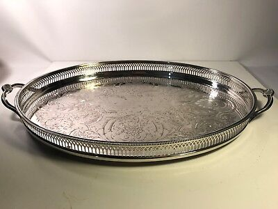 Large Vintage Cavalier Oval Chased Gallery Silver Plated Tray Platter Handles