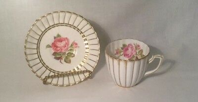 Vintage Royal Chelsea English Bone China Tea Cup and Saucer Striped Design MINT!