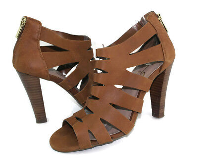 1cb656c456da Jessica Simpson Women s Brown Strappy Zip Ankle Strap Sandals US Size 6.5 B