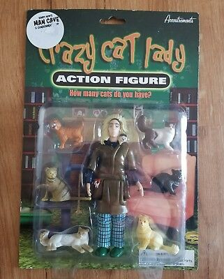 Crazy Cat Lady Action Figure Set Accoutrements Toy Gag Gift Joke Kitty Kitten