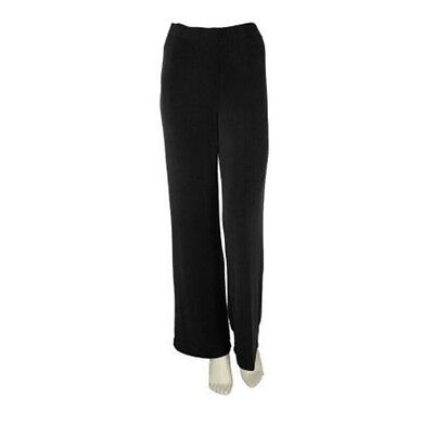 Effortless Style By Citiknits Slinky/Travel Knit Black Pants Elastic Waist L