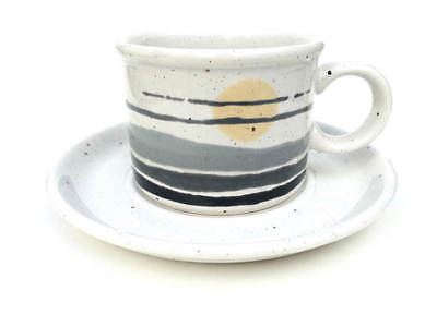 Retro MIDWINTER 1970s Stonehenge NIGHT Vintage Stoneware Cup & Saucer Duo