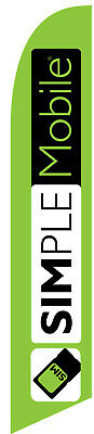 Lime Green Simple Mobile Wireless Feather Banner Swooper Flag - FLAG ONLY -
