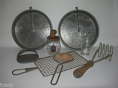 Vintage PRIMITIVE LOT~Country Antique Kitchen Farm Decor~2 Tin Cake Pans-Grater&