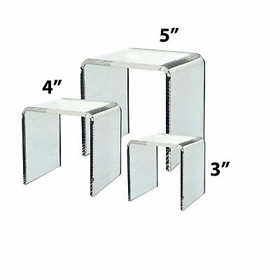 """Clear Acrylic Riser Countertop Display Stand Set of 3 Cube Showcase 3"""" 4"""" 5"""""""