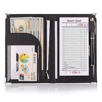 "Leather Servers Wallet Server Waiter Book Organizer Restaurant Black/8"" 5.2..."